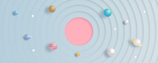 Disegno vettoriale della galassia con pianeti utilizzando paper cut art