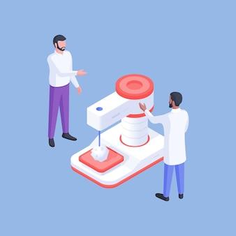 Disegno vettoriale di immagine isometrica con dipendenti maschi del moderno laboratorio medico in piedi presso apparecchiature di ricerca e discutendo i risultati del nuovo farmaco