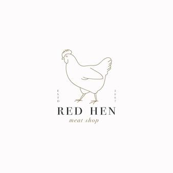 Logo o emblema del modello lineare di disegno vettoriale - gallina di fattoria. simbolo astratto per macelleria o macelleria.
