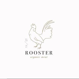 Logo o emblema del modello lineare di disegno vettoriale - gallo di fattoria. simbolo astratto per macelleria o macelleria.