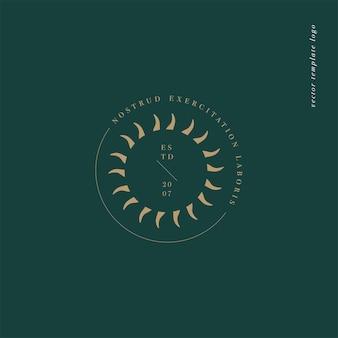 Logo o emblema del modello lineare di disegno vettoriale - stile boho misterioso. simbolo astratto per boutique spirituale e astrologica.