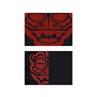 Cartolina di disegno vettoriale colori neri con una faccia di ornamento del drago cinese.