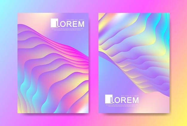 Modello di disegno vettoriale in vivaci colori sfumati alla moda con forme fluide astratte, schizzi di vernice, gocce di inchiostro. poster futuristici, striscioni, brochure, volantini e copertine. forma fluida astratta 3d.