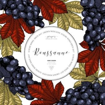Modello di disegno vettoriale del marchio del vino