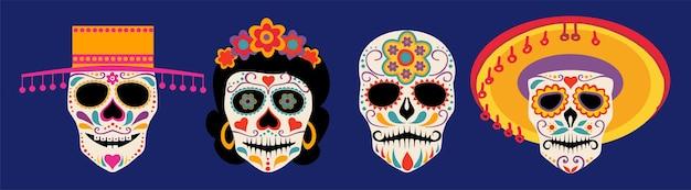 Vector dia de los muertos giorno dei morti o messico collezione di teschi di halloween teschio di zucchero vector