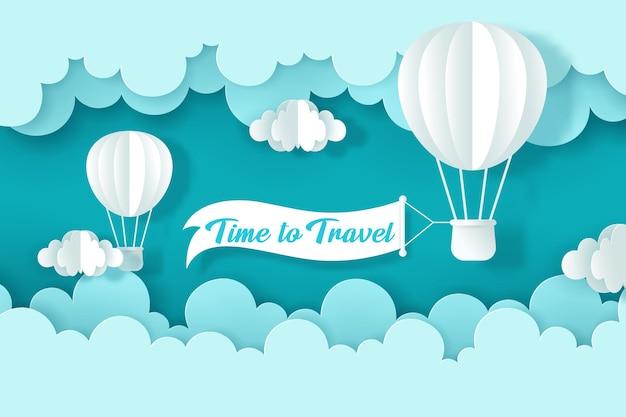 Stile artigianale vettoriale e digitale di palloncini sul cielo. tempo di viaggiare concetto, eps 10 vector.