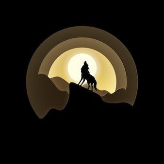 Stile artigianale vettoriale e digitale della luna piena con lupo che ulula di notte.