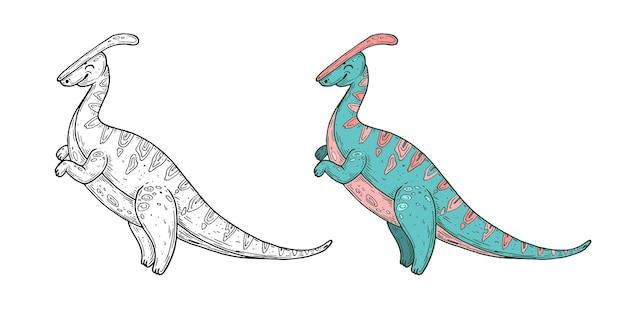 Grafica vettoriale a linea di inchiostro fatta a mano di dinosauri