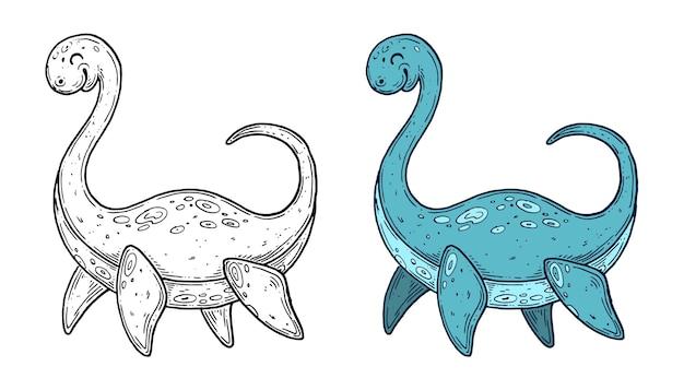 Grafica della linea di inchiostro fatta a mano di dinosauri vettoriali