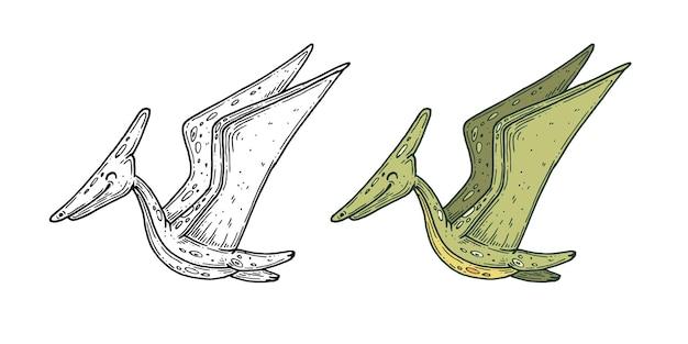 Grafica inkline fatta a mano di dinosauri vettoriali