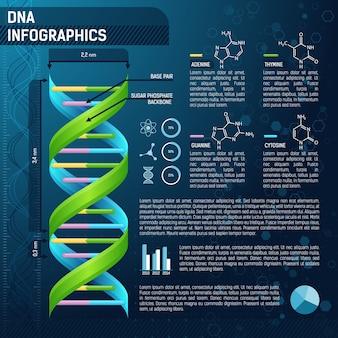 Dna vettoriale per infografica scientifica, modello di infografica scientifica con testo