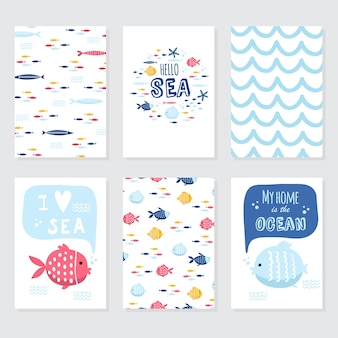 Illustrazione di scarabocchio di vettore. mare del nord. stile scandinavo. carte pronte con animali marini, balene, orche, granchi, gabbiani, pesci, simboli marini