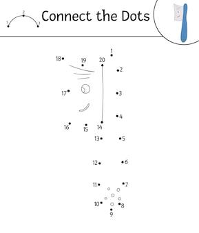 Attività vettoriale punto-punto con simpatico spazzolino kawaii. unisci il gioco dei punti. carattere divertente per la cura dei denti. clipart di contorno a tema dentale per bambini. disegno di igiene orale da colorare coloring