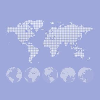Mappa punteggiata di vettore e globo del mondo.