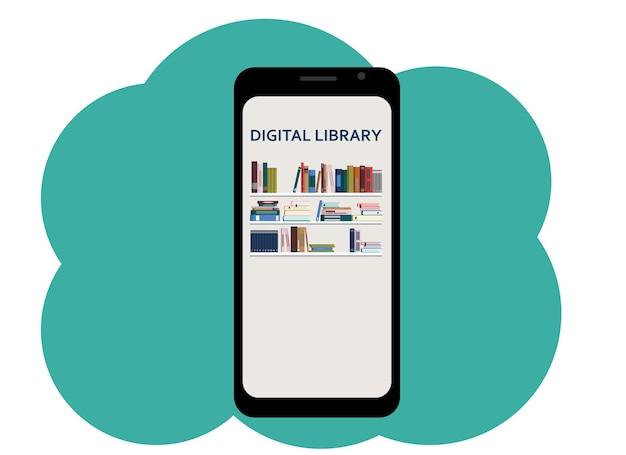 Disegno vettoriale di un telefono cellulare con l'immagine di libri e la biblioteca digitale di testo