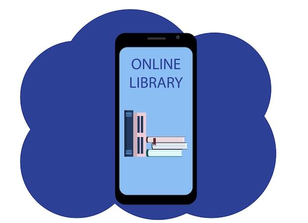 Disegno vettoriale di un telefono cellulare con l'immagine di libri e la biblioteca online di testo