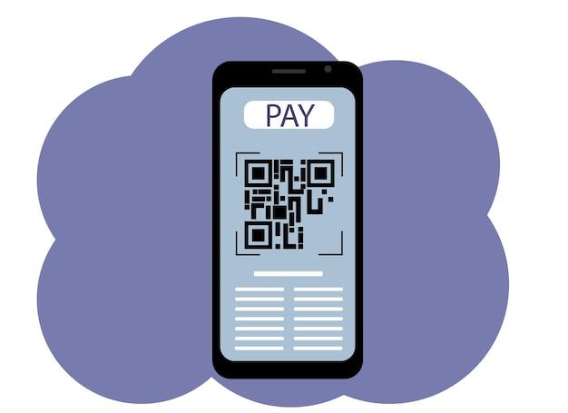 Disegno vettoriale di un telefono cellulare con un'immagine sullo schermo di un codice qr. paga