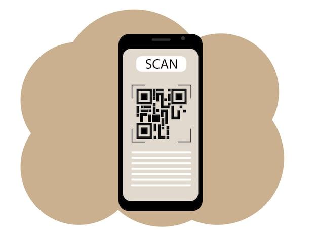 Disegno vettoriale di un telefono cellulare con un'immagine sullo schermo di un codice qr. scansiona o genera