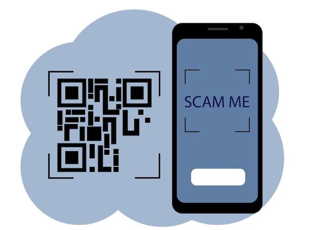 Disegno vettoriale di un telefono cellulare con un'immagine sullo schermo di un codice qr. scansionami