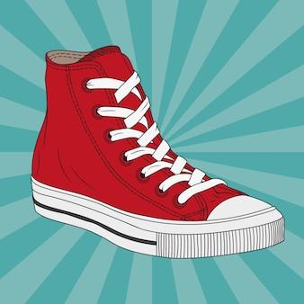 Disegno di un rosso scarpe da ginnastica con suole in gomma e con lacci vettoriale.