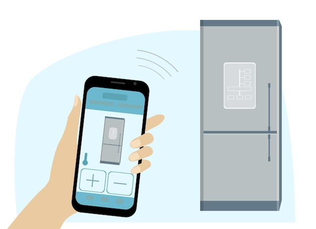 Disegno vettoriale di un frigorifero intelligente e una mano con un telefono per il controllo. app sul telefono