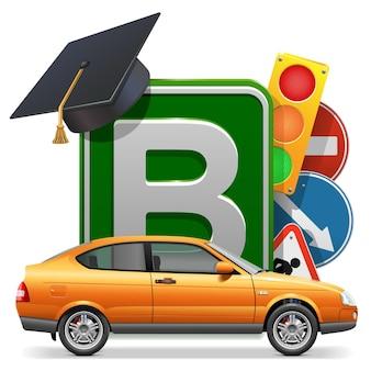 Concetto di scuola guida vettoriale con auto isolata su sfondo bianco