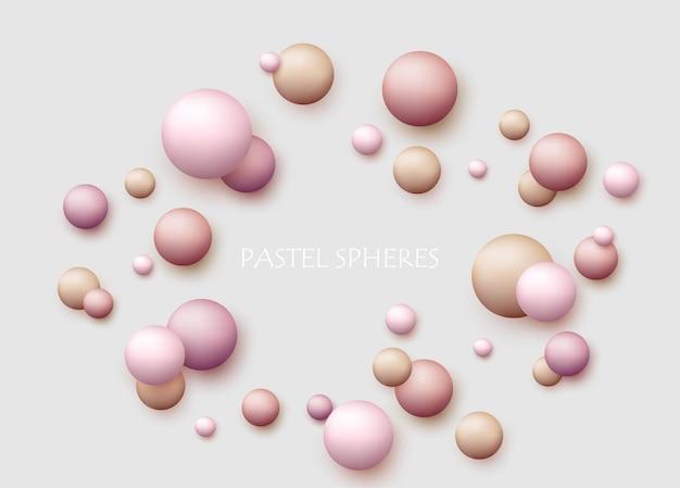 Sfondo dinamico vettoriale con palline colorate realistiche 3d sfera rotonda in colori pastello di perle su sfondo bianco palline di polvere fondotinta in polvere arrossire meteoriti