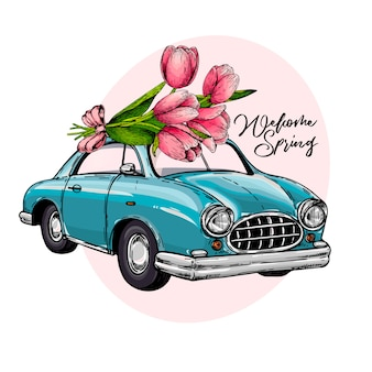 Vector auto di pasqua alla guida di un mazzo di tulipani.