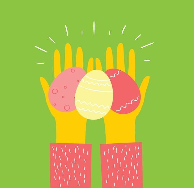 Carte di pasqua di vettore con le mani che tengono le uova e il testo disegnato a mano - buona pasqua in stile piatto