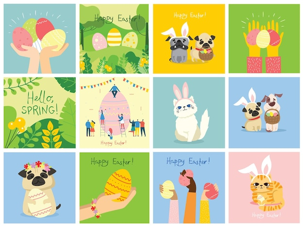 Carte di pasqua di vettore con le persone che tengono le uova e il testo disegnato a mano - buona pasqua in stile piatto