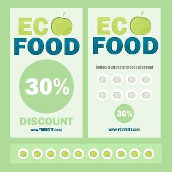 Volantino ecologico vettoriale, brochure, coupon promozionali o banner design con adesivi e sconti - colori verde e blu
