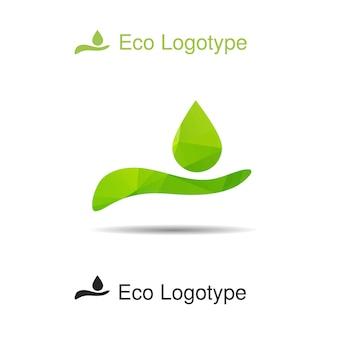 Logotipo di ecologia vettoriale dalla mano con goccia
