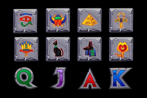 Icone di slot di vettore egitto sul quadrato di pietra. casinò di gioco, slot, interfaccia utente. icone su livelli separati.