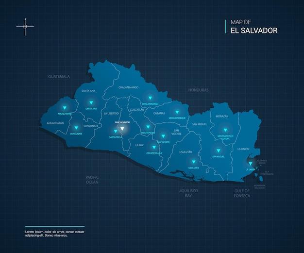 Illustrazione della mappa di el salvador di vettore con punti luce al neon blu