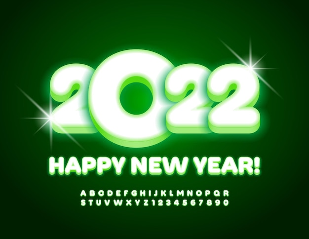 Biglietto di auguri elettrico vettoriale happy new year 2022 set di alfabeti luminosi con carattere illuminato verde