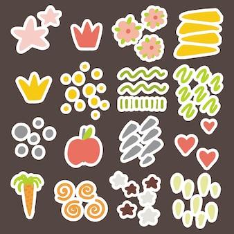 Elementi vettoriali per la progettazione di bambini, cartoline, striscioni, adesivi. cuori, stelle, corone, pennellate di colori accesi.