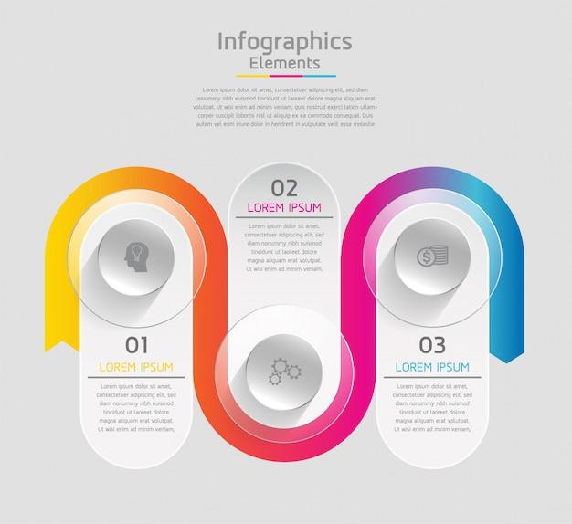 Elementi vettoriali per infografica. presentazione e grafico. passaggi o processi. 3 passi.