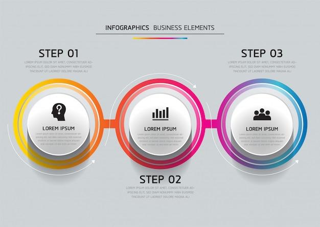 Elementi vettoriali per infografica. presentazione e grafico. passaggi o processi. 3 passaggi.