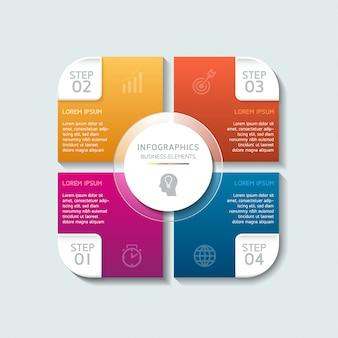 Elementi vettoriali per infografica. presentazione e grafico. passaggi o processi. 4 passaggi.