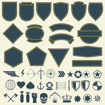 Elementi vettoriali per militari, patch dell'esercito, set di distintivi