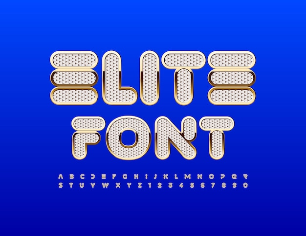 Vector elite font bianco strutturato e alfabeto oro set moderno di lettere e numeri alla moda