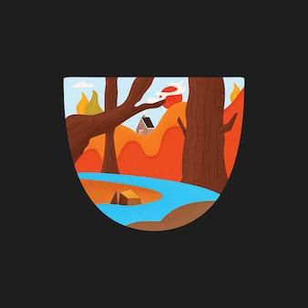 Emblema di vettore per il concetto di campeggio e avventura su sfondo nero