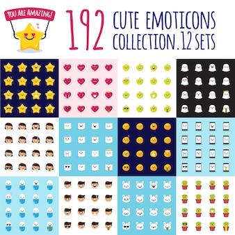 Grande set di emoji vettoriale Vettore Premium