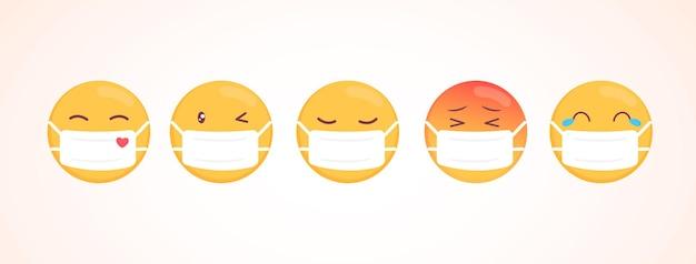 Collezione di emoji vettoriali con reazioni diverse per i social media. carino viso piatto isolato su sfondo bianco. maschere per emoticon moderne.