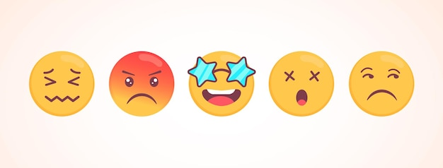 Collezione di emoji vettoriali con reazioni diverse per i social media. carino viso piatto isolato su sfondo bianco. emoticon moderne.