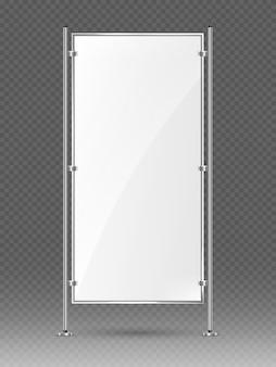Supporto per banner vuoto vettoriale su scaffalature metalliche. modello di modello pubblicitario vuoto. banner verticale stand espositivo vuoto