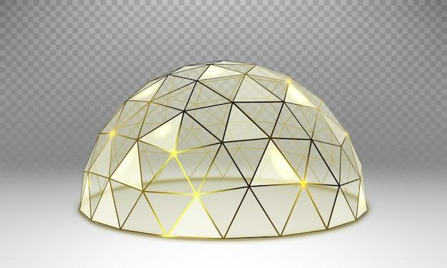 Cupola sferica di vetro vuoto di vettore. cupola rotonda in vetro con cornice dorata
