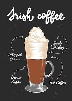 Vector inciso stile irish coffee cocktail illustratio schizzo disegnato a mano con scritte e ricetta