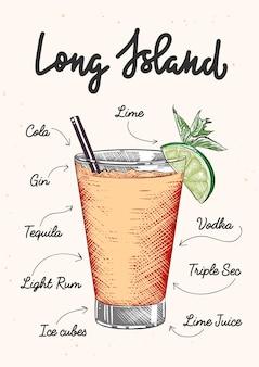 Illustrazione di cocktail alcolico di long island in stile inciso vettoriale con scritte e ricetta