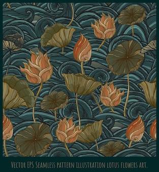 Vector eps seamless pattern vintage linea disegnata illustrazione loto e foglie arte